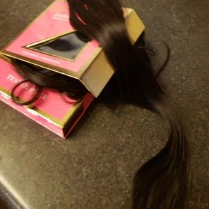 "26"" soft black / dark brown clip in extensions"
